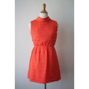 Vintage 60s Coral Chiffon Mini Cocktail Dress